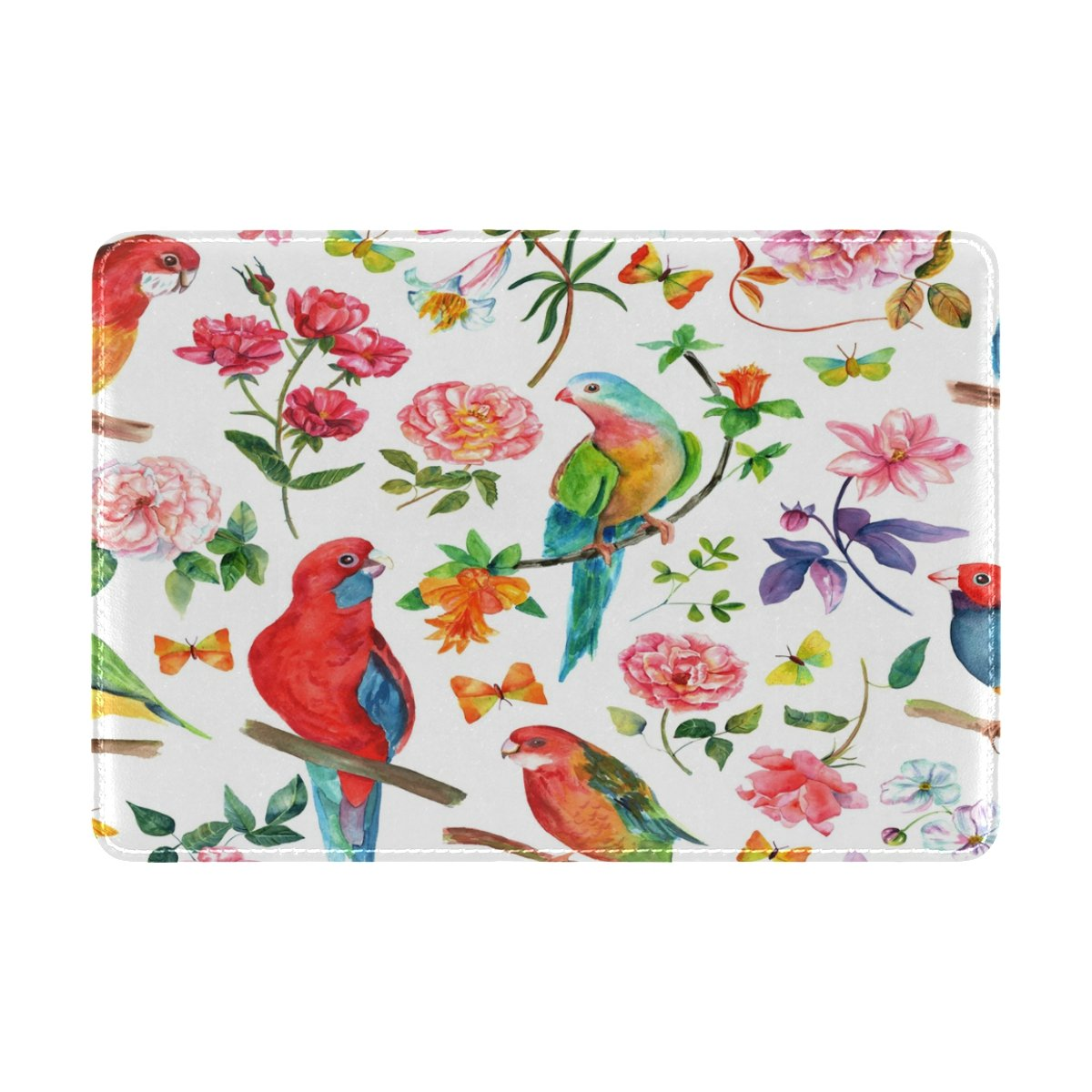 ALAZA Vintage Bird Butterfly Flower PU Leather Passport Holder Cover Case Travel One Pocket