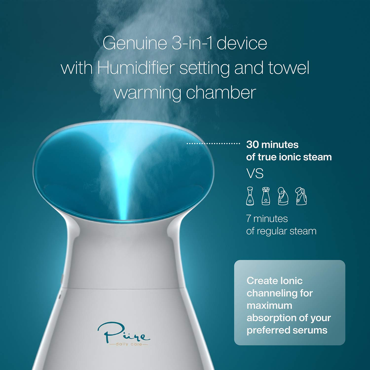 Amazon.com: NanoSteamer Large 3-in-1 Nano Ionic Facial Steamer with Precise  Temp Control - 30 Min Steam Time - Humidifier - Unclogs Pores - Blackheads  - Spa Quality - Bonus 5 Piece Stainless Steel Skin Kit: Beauty