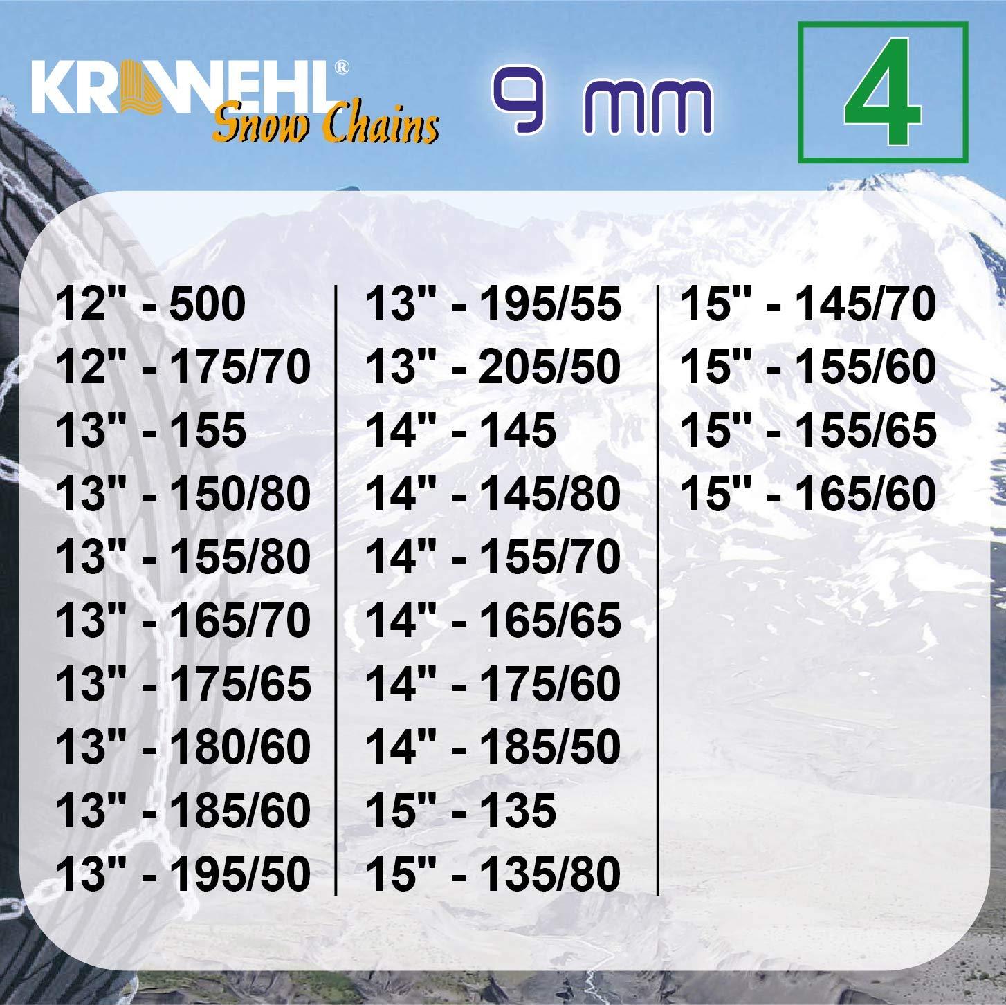Catene universali da neve tipo Rombo per auto KRAWEHL con tirante meccanico /Ø 9 millimetri Gruppo 7 AZ.3402.0011057