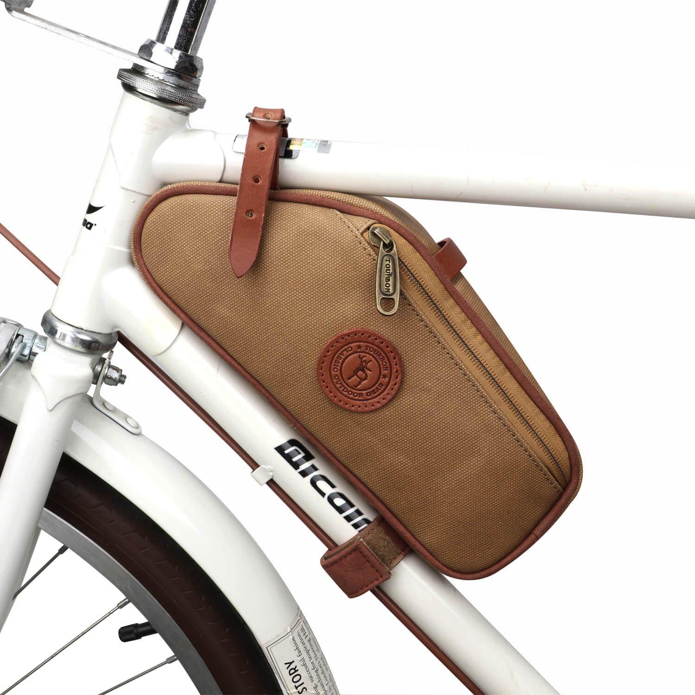 TOURBON Canvas Bike Bicycle Saddle Bag Frame Corner Pouch (Canvas, Waterproof)