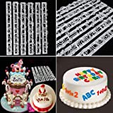 Vibola 6 PCS Set Plastic Letters & Numbers Cake Shape Embossing Stencil Decoration Cutter Cookie Cake decorating tools Cupcake Kitchen fondant Kitchen accessories Cake mold Stand