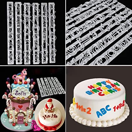 Vibola 6 PCS Set Plastic Letters Numbers Cake Shape Embossing Stencil Decoration Cutter Cookie