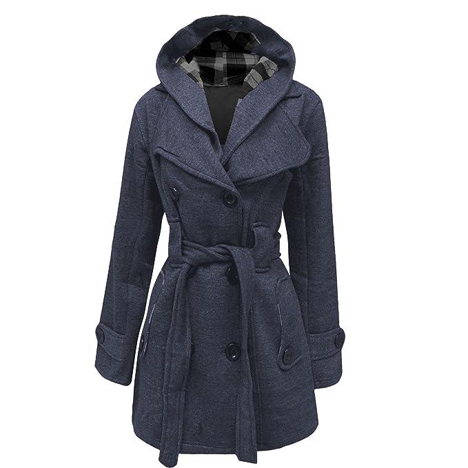 fdc60d60c7 Cappotto da donna con cappuccio, chiusura con bottoni e cintura, taglie:  dalla 40 alla 52