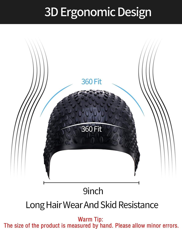 en Gardant Cheveux Propres Oreille au Sec Geyoga Bonnet de Bain pour Cheveux Longs Bonnet de Natation Imperm/éable en Silicone pour Adultes Enfants Femmes Hommes
