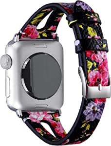 VIQIV Fashion Leather Bands for Compatible with Apple Watch 38mm 42mm iWatch Sport Series 3 2 1, Dressy Bracelets Jewelry Wristband Strap for Women Men Gold Stainlesss Steel Buckle