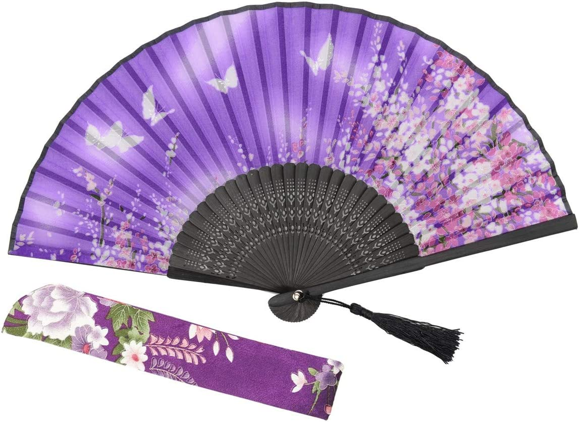 Butterfly and Flower Hand Held Silk Bamboo Japanese Folding D/_X