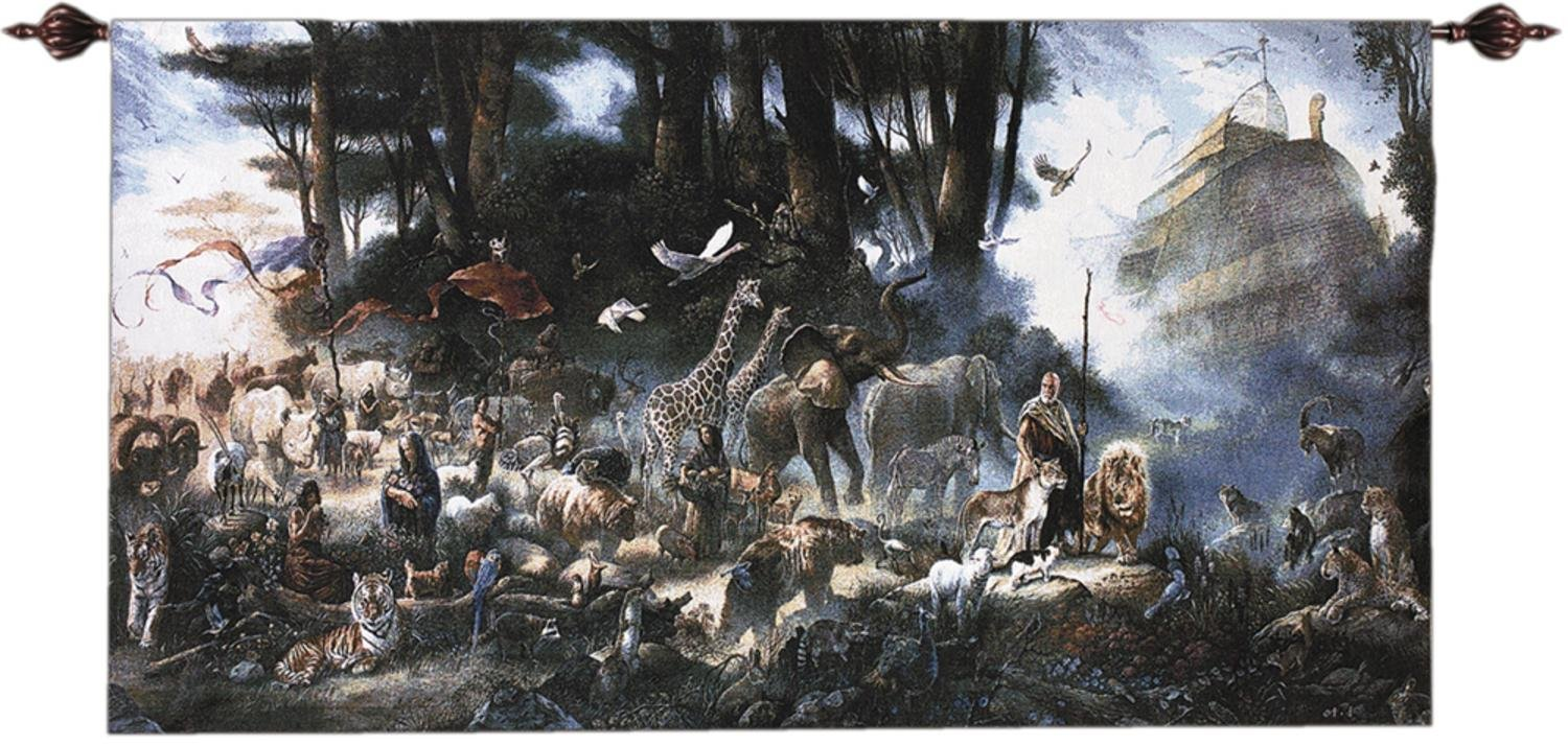 The Invitation Noah's Ark and Animals Cotton Wall Art Hanging Tapestry 35'' x 65''