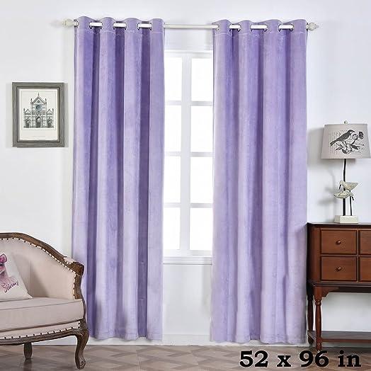 BalsaCircle 52 x 96-Inch Lavender Premium Velvet Blackout Window Drapes Curtains 2 Panels with Grommet Top – Home Decor Party