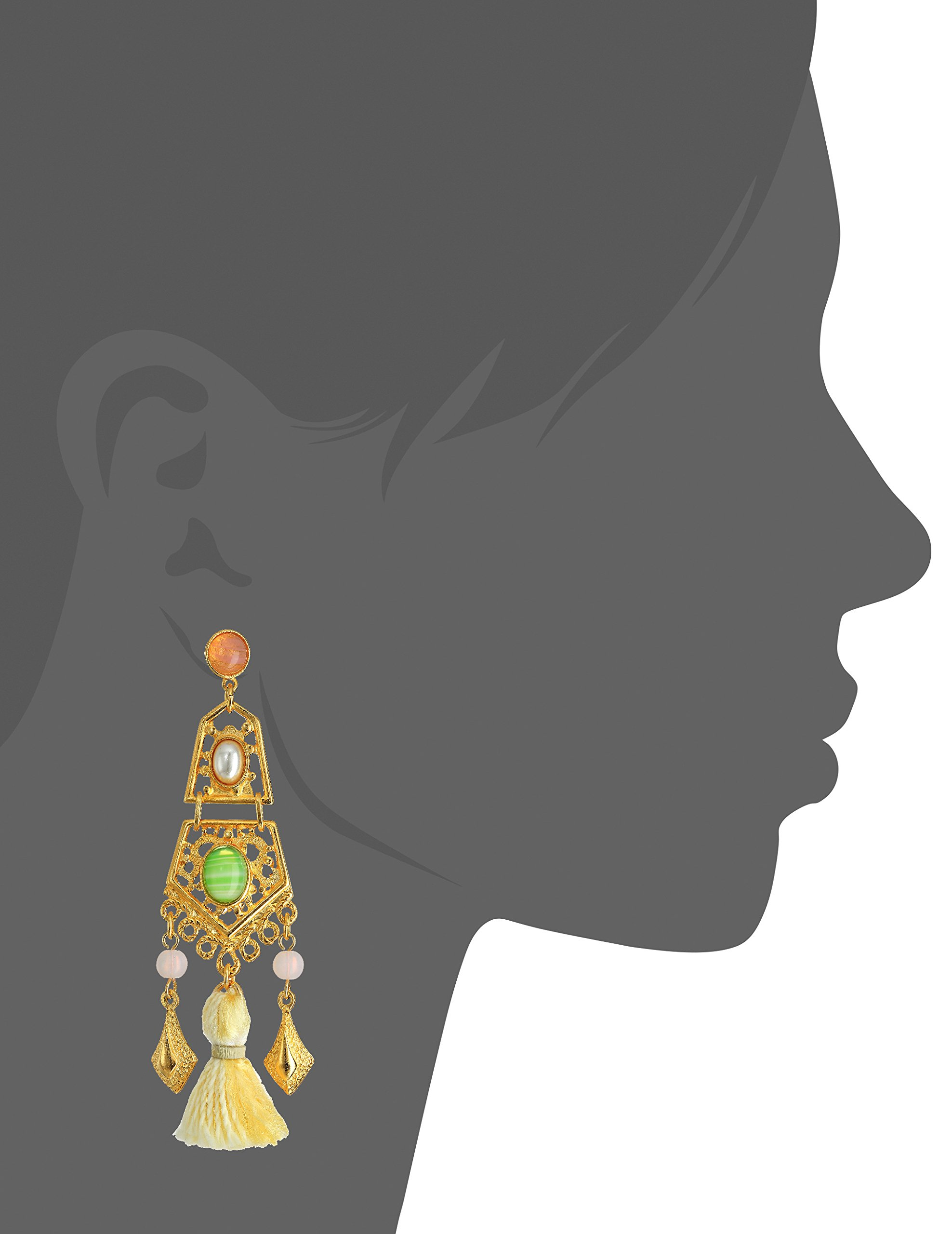 Ben-Amun Jewelry Spring Blush Gold Link Earrings with Tassel and Stones Drop Earrings by Ben-Amun Jewelry (Image #2)