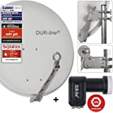 "DUR-line 4 Teilnehmer Set - Qualitäts-Alu-Sat-Anlage ""DVB-T2 Alternative"" ""DVB-T2 Alternative"" - Select 75/80cm Spiegel/Schüssel Hellgrau + DUR-line Quad LNB - Satelliten-Komplettanlage - für 4 Receiver/TV [Neuste Technik - DVB-S/S2, Full HD, 4K/UHD, 3D]"