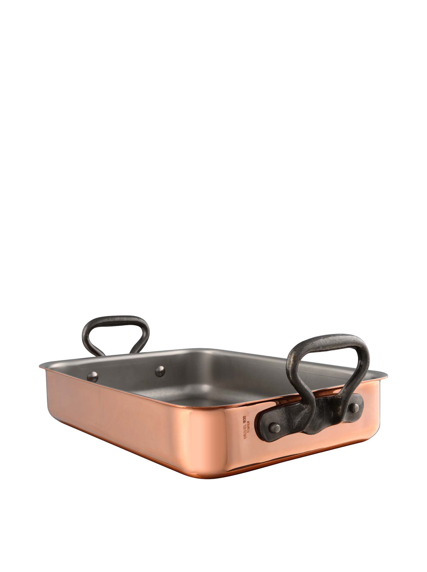 Mauviel M'150C Tri-Ply Roaster with Rack And Cast Iron Handles - Copper - 15.7 x 11.8''