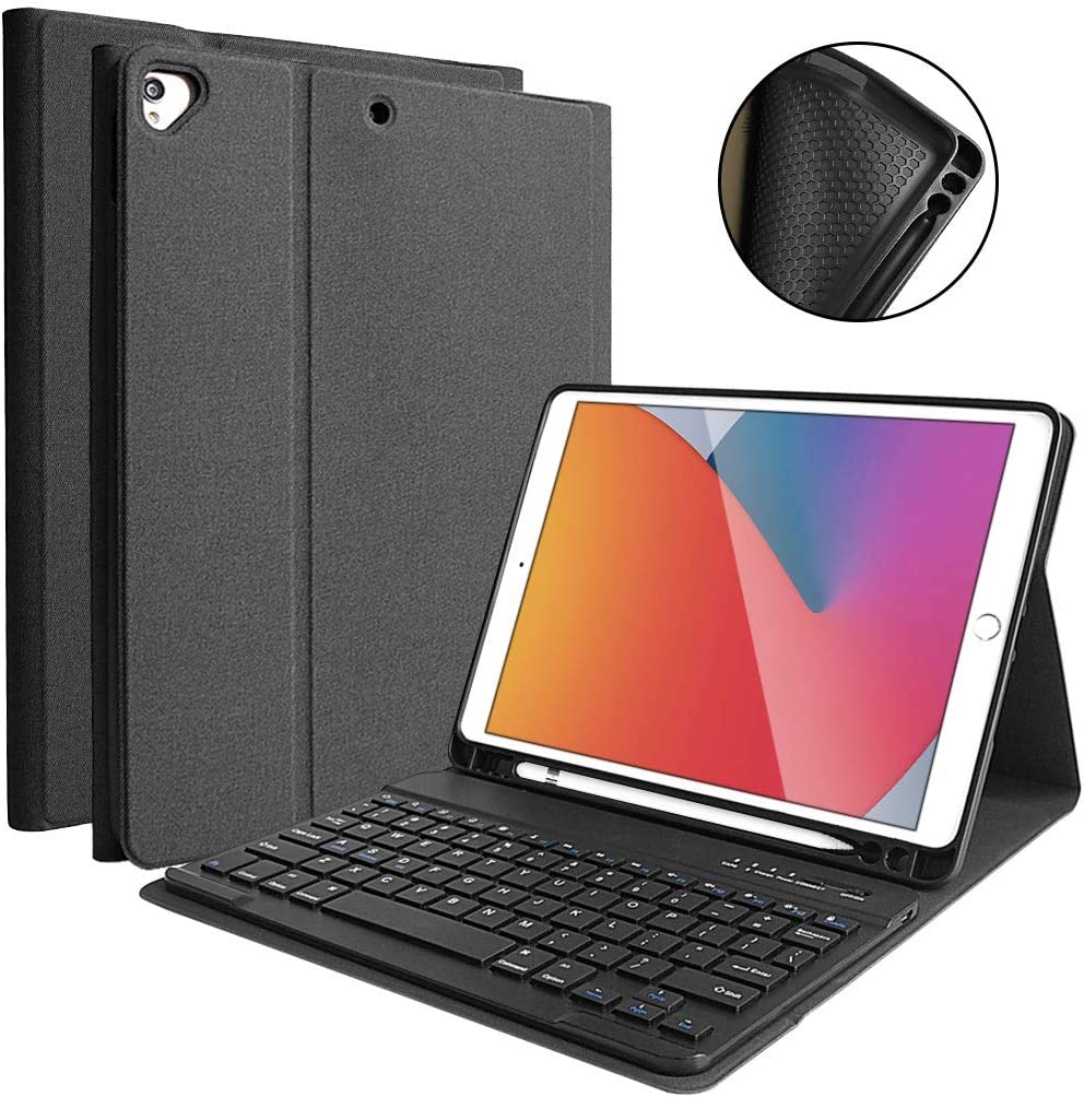 "iPad 8th Generation 2020 Case with Keyboard 10.2"", iPad 7th Gen 2019/iPad Air 3/iPad Pro 10.5 Keyboard Case, Detachable Wireless Bluetooth Keyboard with Pencil Holder for iPad 8th/7th Gen 10.2 Inch"