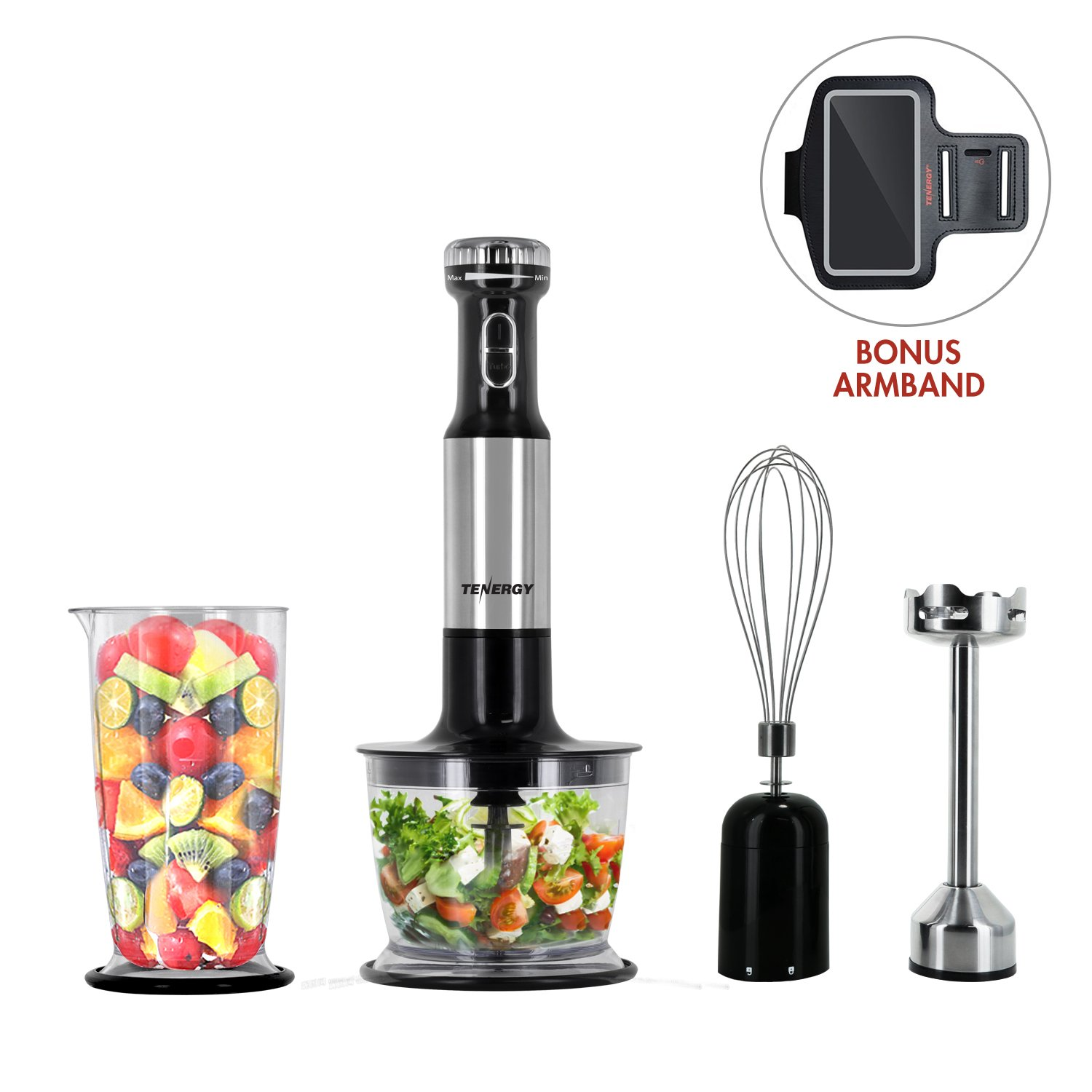 Tenergy Immersion Blender, 200W Multi-Speed Food Mixer Set with Stainless Steel Hand Blender, Chopper, Whisk, Beaker Attachment for Soup, Sauce, Baby Food, Purée and Emulsify, Bonus Cell Phone Armband