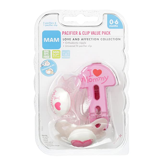 MAM Love & Affection Orthodontic Pacifier with Clip Value ...