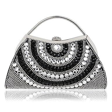 Womens Diamond Sparkling Abendtasche Handtasche Handtasche Clutch Bag Mit Kette Strap Hochzeit Party Prom Taschen,Silver-23.5*5.5*17.5cm Hope