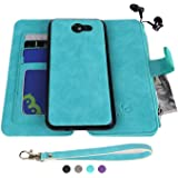 MODOS LOGICOS Samsung Galaxy J3 2017 Case, [Detachable Wallet Folio][2 in 1][Zipper Cash Storage][Up to 14 Card Slots 1 Photo Window] PU Leather Purse with Removable Inner Magnetic TPU Case - Teal