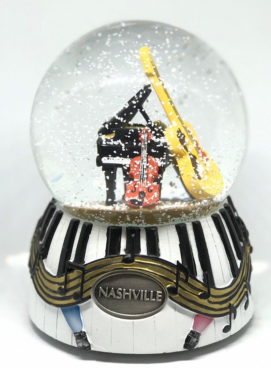 NASHVILLE TENNESSEE MUSIC CITY 100MM MUSICAL SNOW GLOBE