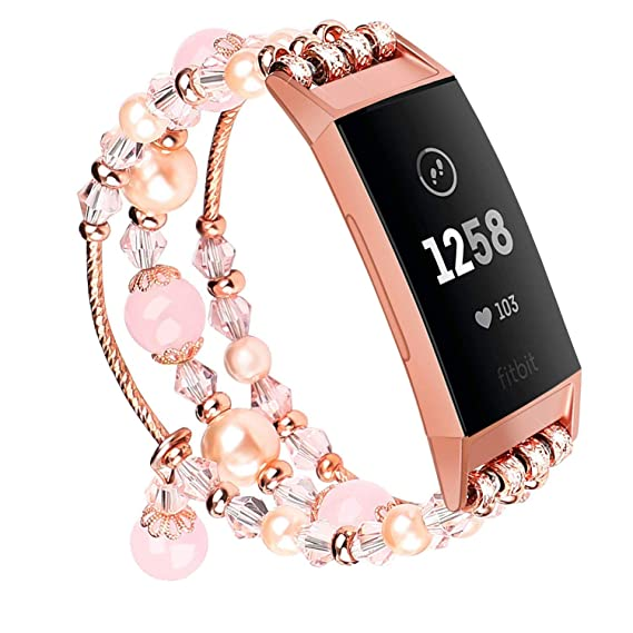 V-MORO Pink Band Compatible with Fitbit Charge 3/3 SE Bands Rose Gold Women  Fashion Handmade Jewelry Bracelet Elastic Stretchy Faux Pearl Bead