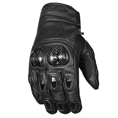 Men's Premium Leather Motorcycle Cruising Street Palm Sliders Biker Gloves L: Automotive