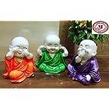 Karigaari Laughing Baby Buddha Resine Showpiece (29.21 cm x 25.91 cm x 12.45 cm, Set of 3)