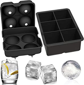 Ouddy 2 Pcs Ice Cube Trays Silicone, Sphere Whiskey Ice Ball Maker with Lids and Large Square Ice Cube Molds for Whiskey, Cocktails and Bourbon
