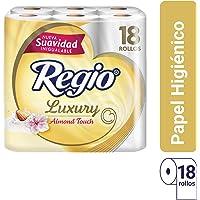 Papel Higiénico Luxury Almond Touch; Ligero Aroma a Almendras y Hojas Triples; Marca Regio 18 Rollos
