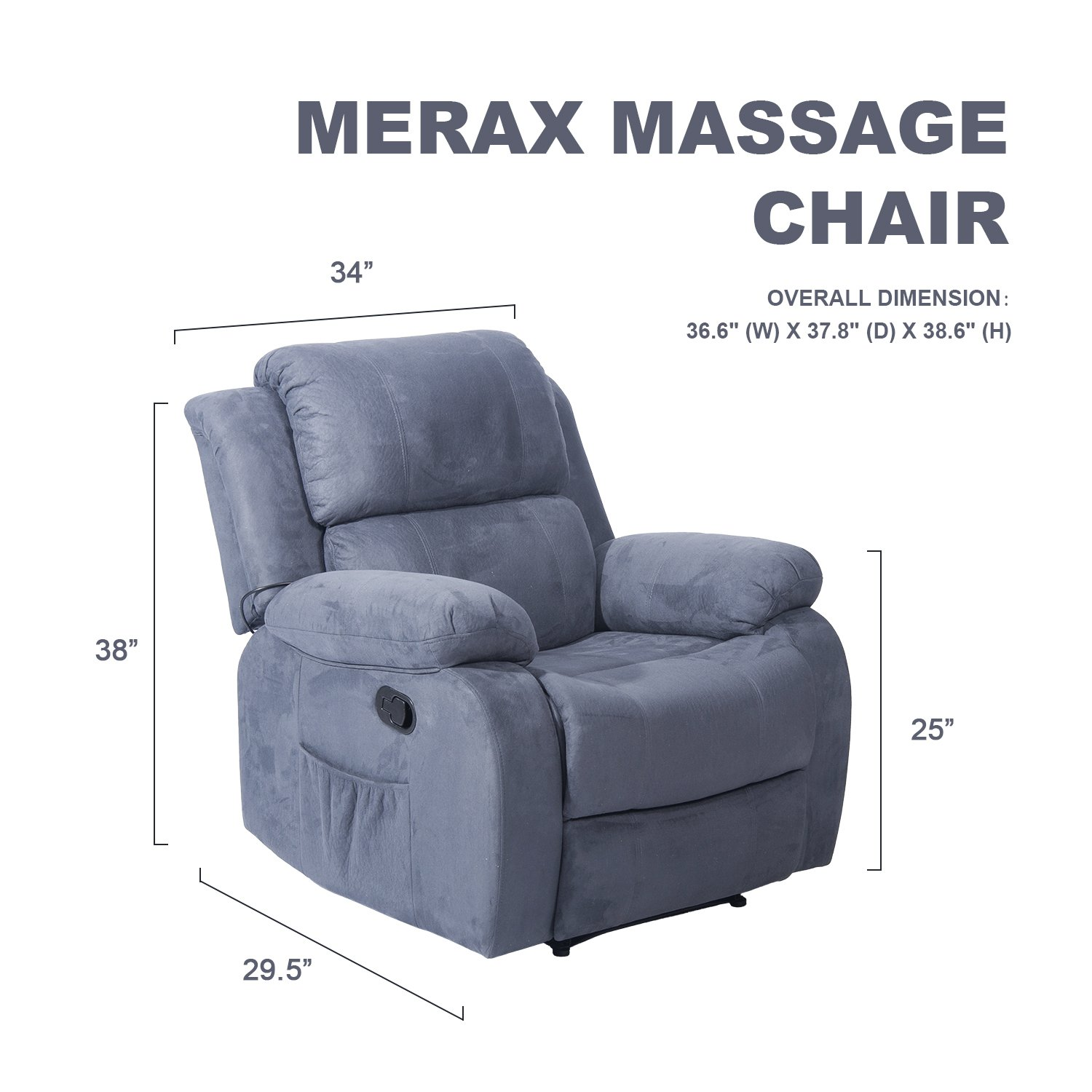 Merax Suede Heated Massage Recliner Sofa Chair Ergonomic Lounge with 8 Vibration Motors, Grey by Merax (Image #5)