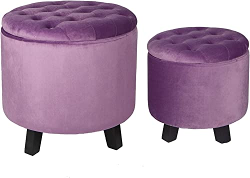 Elnsivo Velvet Storage Ottoman Round Footrest Stool Set of 2 Button Tufted Modern Chair