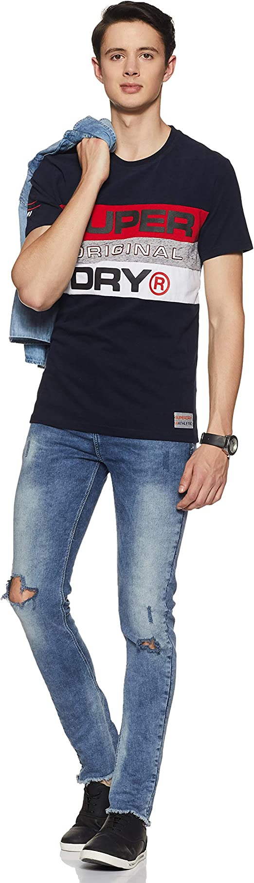 Superdry Trophy Panel T Shirt MC Homme Bleu