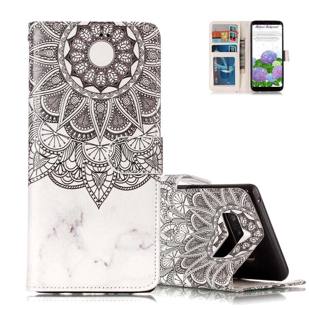 Etui Samsung S6 Edge Blanc, Aeeque Luxe 3D Effet Coque en PU Cuir et Suople Silicone Interne Bumper pour Samsung Galaxy S6 Edge (SM-G925) Plume Noir Motif Magnétique Rabat Clapet Portable Téléphone Accessoire avec Fentes de Cartes NEAEB026921