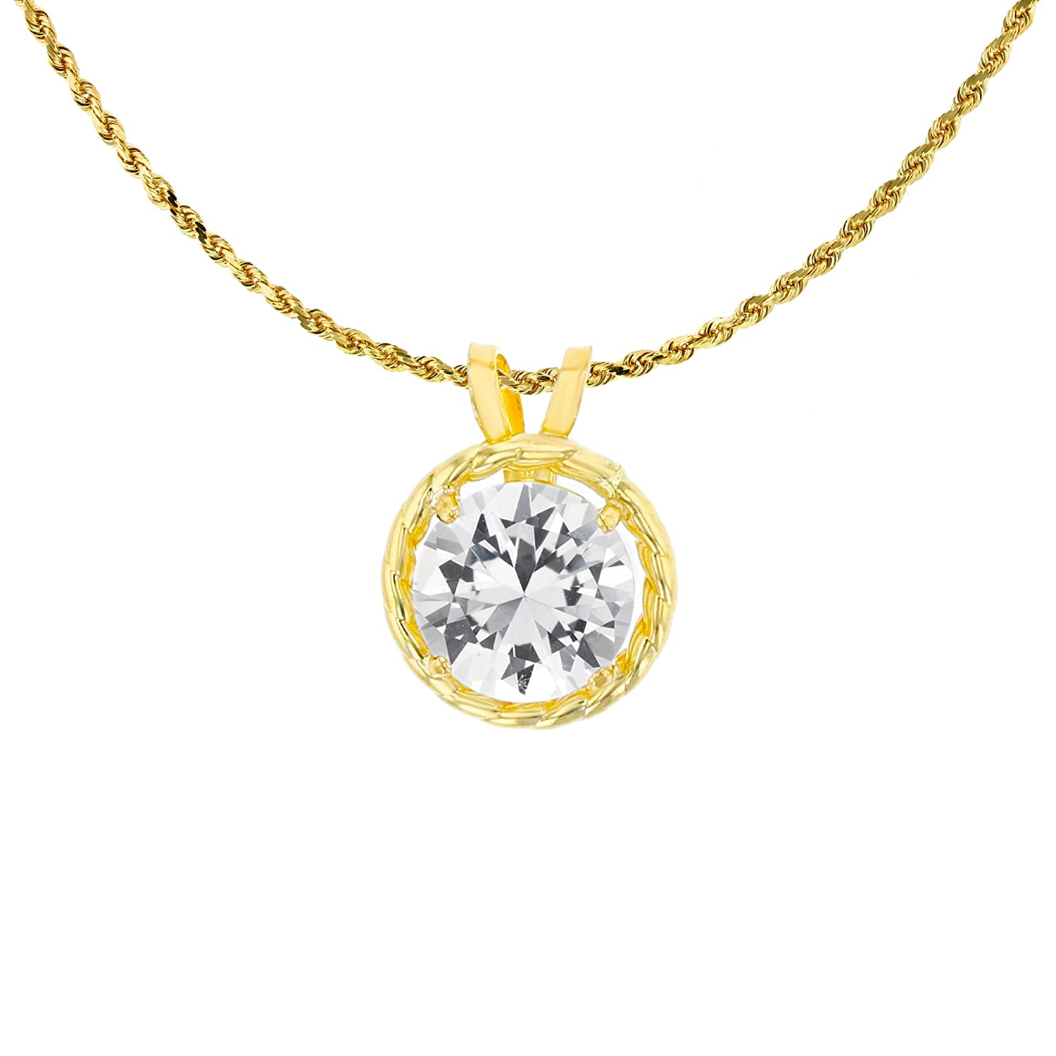 10K Yellow Gold 6mm Round Rope Frame Rabbit Ear 18 Rope Chain Necklace DECADENCE TSK6498Y3XX-18
