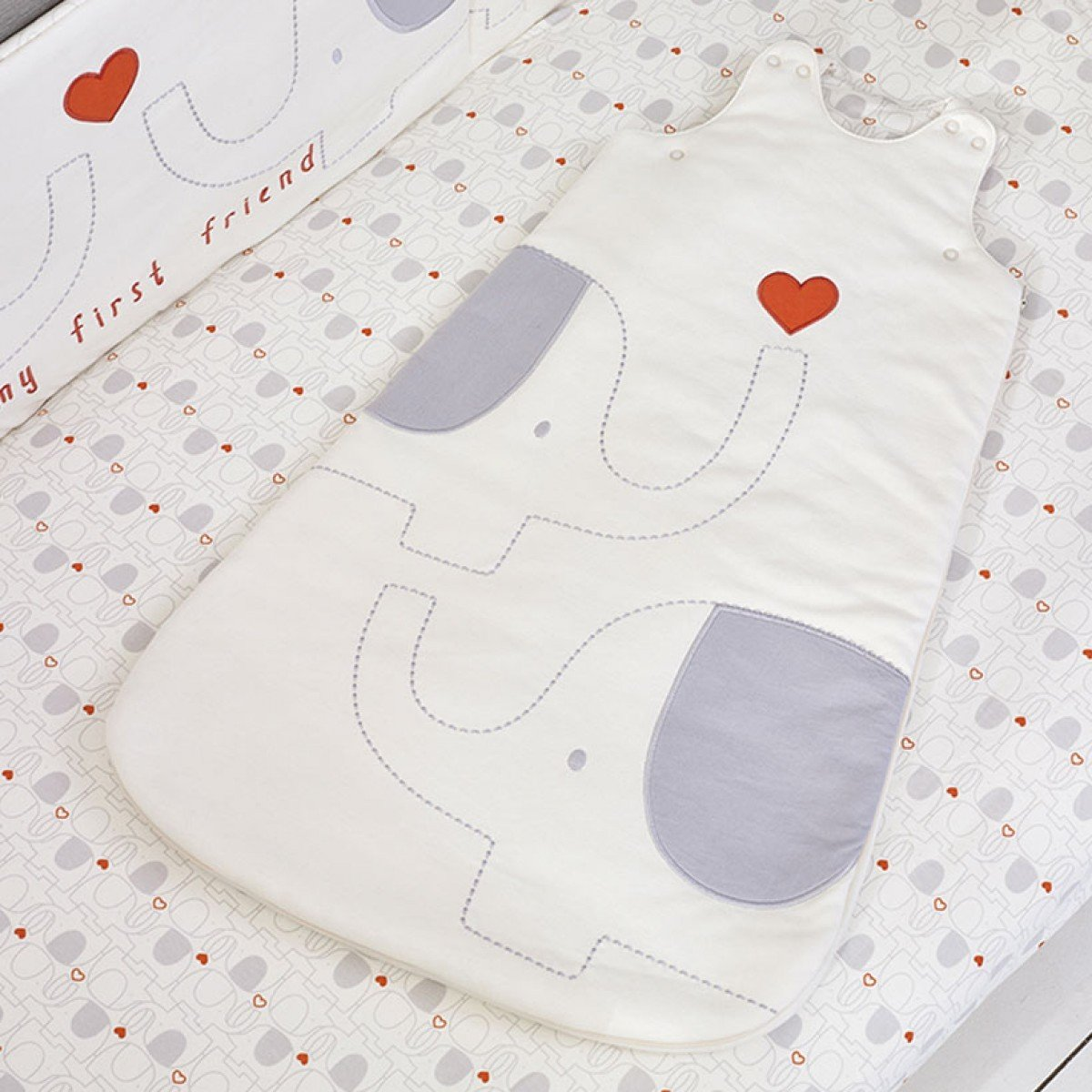 My First Friend Grey & White Elephant Baby 2.5 tog Sleeping Bag 0-6 months - Soft Organic & Pure Natures Purest
