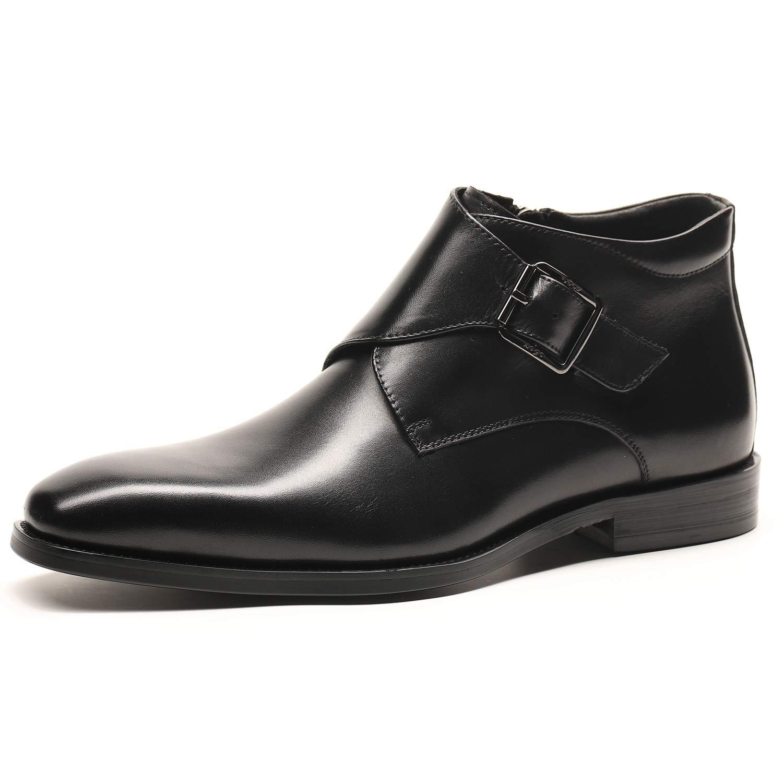 WEWIN ブーツ ビジネスシューズ エンジニアブーツ メンズ 本革 革靴 サイドジップ モンクストラップ 防滑 フォーマル カジュアル ファッション B07HR81JQL 27.0 cm|ブラック ブラック 27.0 cm