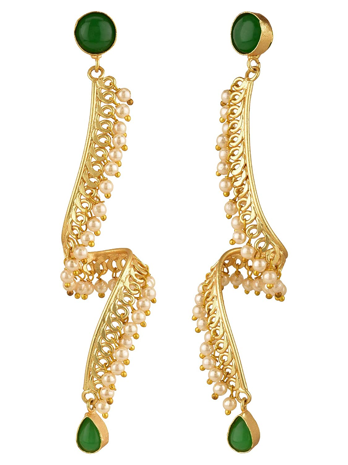 Efulgenz Indian Bollywood 14K Gold Plated Crystal Pearl Spiral Twisted Dangling Big Earrings Jewelry Set