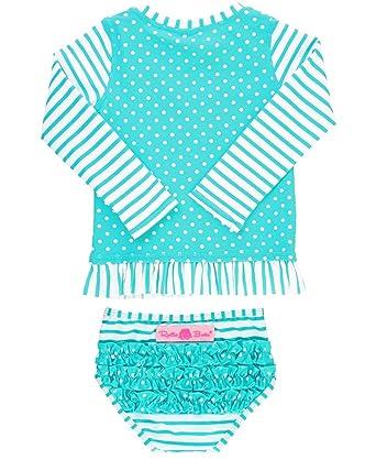d3571e7ea RuffleButts Baby/Toddler Girls Rash Guard 2-Piece Long Sleeve Swimsuit Set  - Aqua