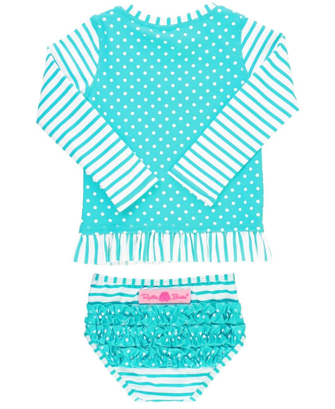 7b8c196983 RuffleButts Baby/Toddler Girls Long Sleeve Rash Guard 2-Piece Swimsuit Set  - Stripes