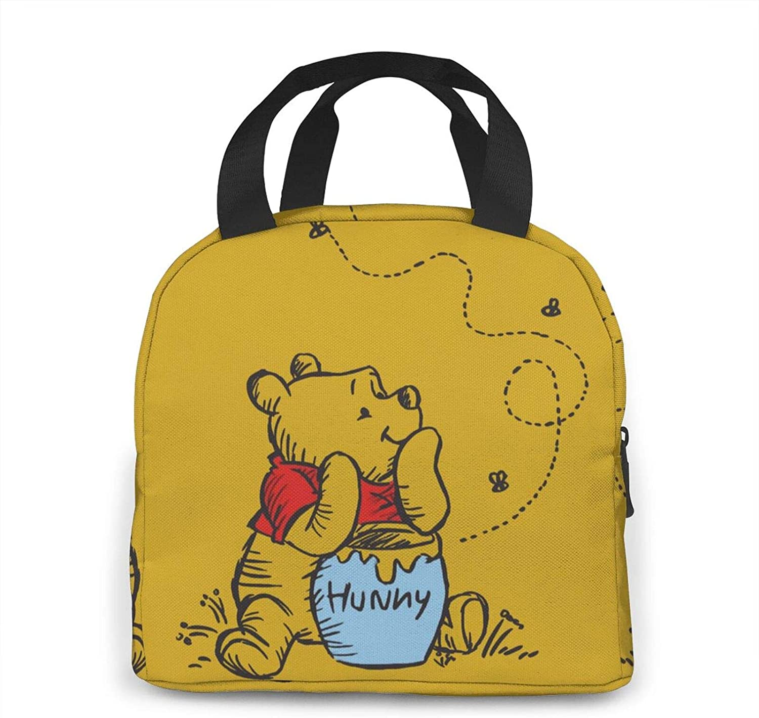 WOMFUI Insulated Zipper Winnie The Pooh Lunch Bag Cooler Tote Bag for Men Women, Lunch Boxes Meal Prep Handbag