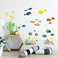 DECOWALL DS-8035 Coral Reef Fish Kids Wall Stickers Wall Decals Peel and Stick Removable Wall Stickers for Kids Nursery…