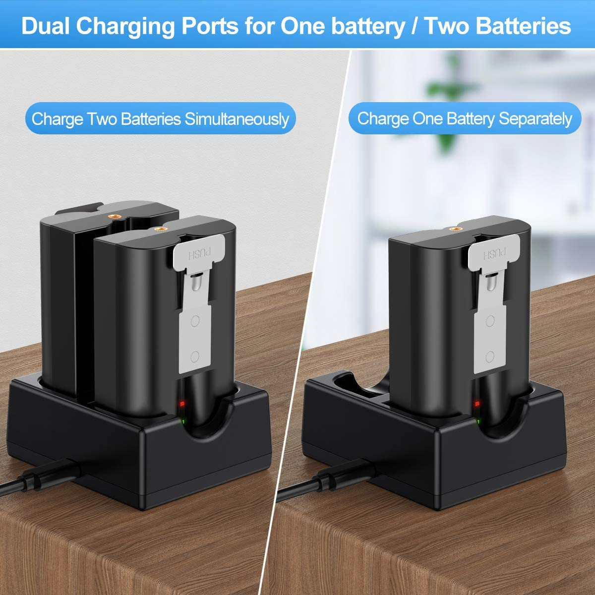 Dual Port Rechargeable Charging Station with Fast Charging Adapter Batteries NOT Included KIMILAR Battery Charger Compatible with Ring Video Doorbell 2 Peephole Cam /& Stick Up Cam Spotlight Cam