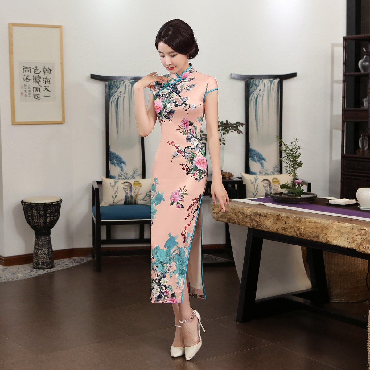 ACVIP Women Stand Collar Cap Sleeve Retro Chinese Floral Maxi Qipao Cheongsam (China 3XL/Bust:40.9'') by ACVIP (Image #7)
