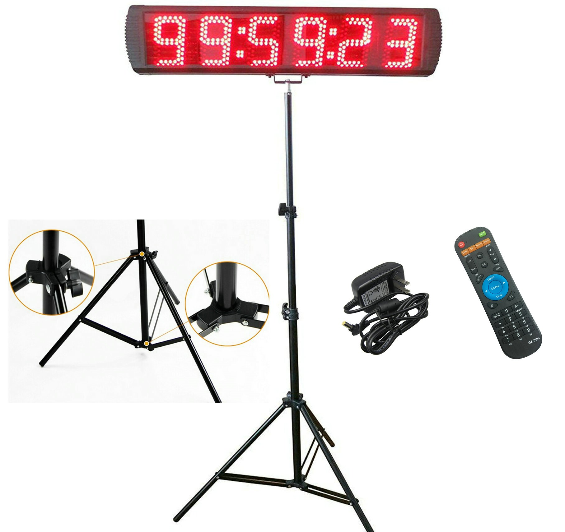 GANXIN Portable 5'' High 6 Digits LED Race Clock with Tripod for Running Events, Countdown/up Digital Race Timer, 12/24-Hour Real Time Clock, Stopwatch by Remote Control, Red Color