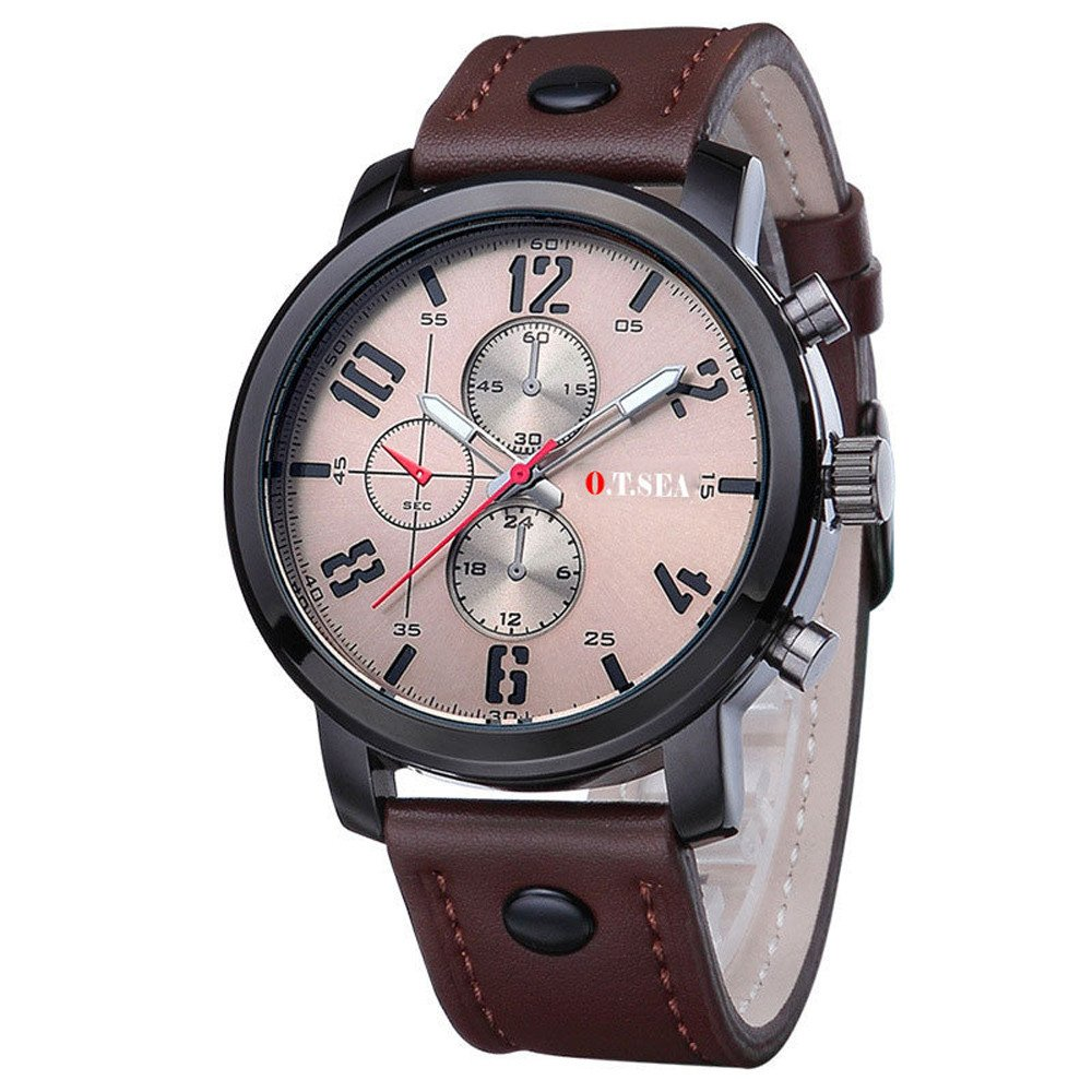 Mens Quartz Watch, VANSOON Unisex Hot Men's Sports Quartz Watches Watches Luxury Leather Band Wristwatches Digital Simple Business Waterproof Bracelet Watch Clearance