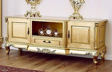 Porta Tv Foglia Oro.Simone Guarracino Porta Tv Carlos Stile Barocco Francese Foglia