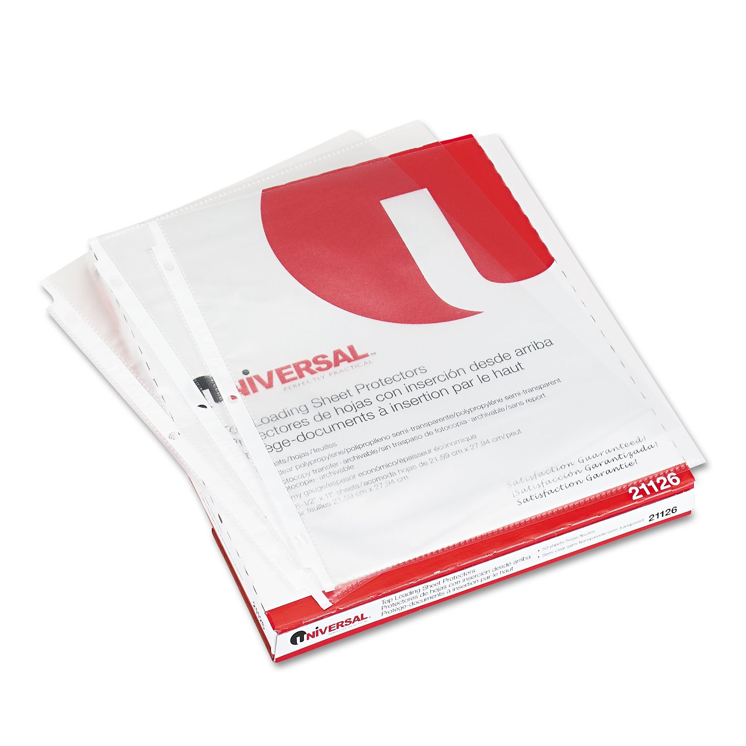 Universal 21126 Top-Load Poly Sheet Protectors, Std Gauge, Nonglare, Clear, 50/Pack UNIVERSAL OFFICE PRODUCTS
