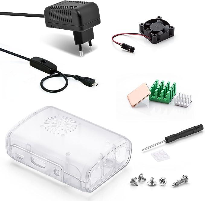 Aukru Transparente Caja + Micro USB 5V 3000mA Cargador con Interruptor + Disipador de Calor + Mini Fan para Raspberry Pi 3 Modelo B, B+: Amazon.es: Electrónica