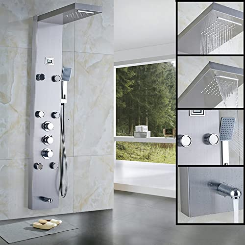 Minimalist Votamuta 55″ Stainless Steel Rainfall Shower Panel For Your House - Review shower tower reviews Top Design
