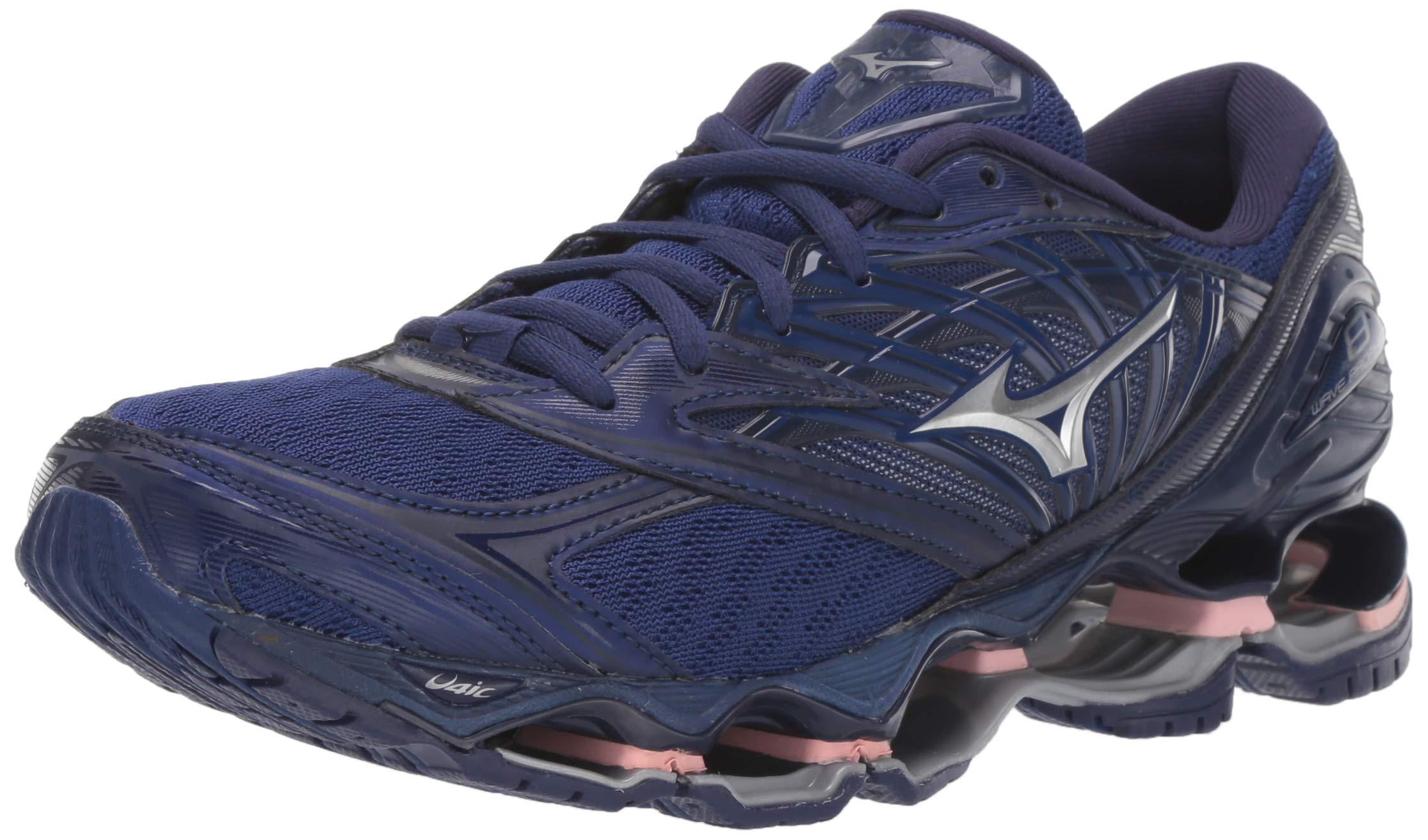 Mizuno Women's Wave Prophecy 8 Running Shoe, Blueprint-Silver, 6.5 B US