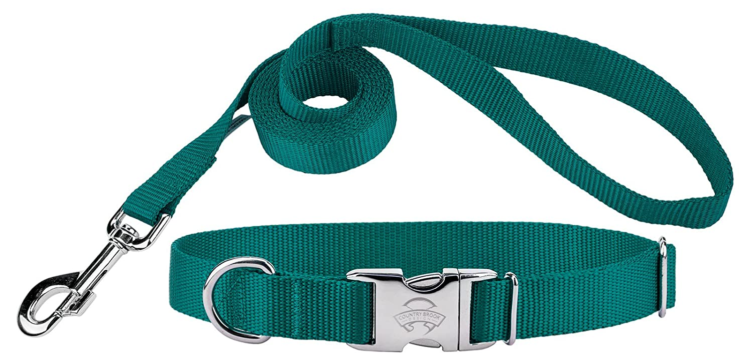 Teal Medium, 3 4 Inch Wide Teal Medium, 3 4 Inch Wide Country Brook DesignÃ'Â Premium Nylon Dog Collar and Leash Teal Medium