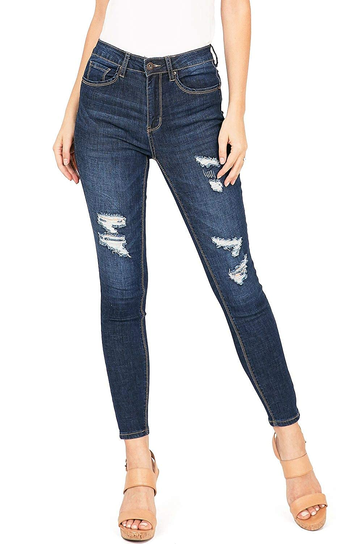 16f86e2cb13 Wax Jeans Women's Juniors High Waist Light Distressing Skinny Jeans at  Amazon Women's Jeans store