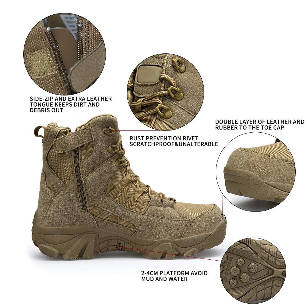ENLEN&BENNA Men's Desert Boots Tactical Combat Boots Military Boots Tan Composite Toe Side Zipper Lightweight Brown by ENLEN&BENNA (Image #3)